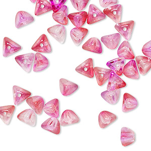bead, preciosa, czech pressed glass, transparent jelly pink, 6x4mm pyramid with 0.8-0.9mm hole. sold per pkg of 40.