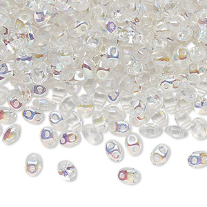 bead, preciosa twin™ pressed twin, czech pressed glass, translucent clear ab, 5x2.5mm oval with 2 holes. sold per 10-gram pkg.