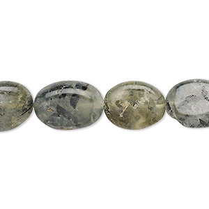 bead, prehnite (natural), 14x10mm-18x13mm hand-cut flat oval, d grade, mohs hardness 6 to 6-1/2. sold per 13-inch strand.