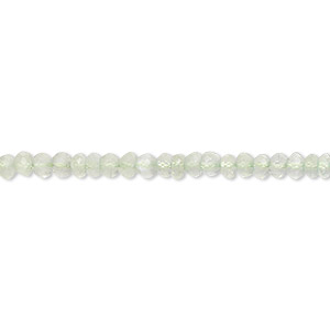 bead, prehnite (natural), 3x2mm-4x3mm faceted rondelle, b grade, mohs hardness 6 to 6-1/2. sold per 16-inch strand.