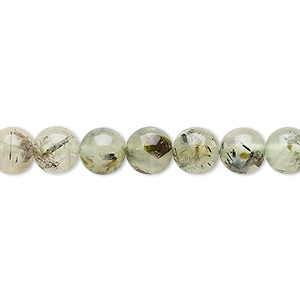 bead, prehnite (natural), 6-8mm round, c grade, mohs hardness 6 to 6-1/2. sold per 15-inch strand.