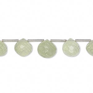 bead, prehnite (natural), 7x7mm-9x9mm faceted teardrop, b grade, mohs hardness 6 to 6-1/2. sold per 8-inch strand, approximately 19 beads.