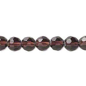 bead, pressed glass, dark purple, 7-8mm faceted round. sold per 16-inch strand.