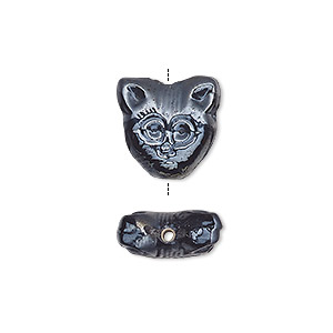 bead, pressed glass, opaque black luster, 15x13mm-15x15mm double-sided cat face. sold per pkg of 10.