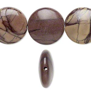 bead, purple creek stone (stabilized), 18mm flat round, b grade, mohs hardness 3-1/2 to 4. sold per 16-inch strand.