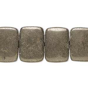 bead, pyrite (stabilized), 18x13mm double-drilled rectangle with 0.5-1.5mm holes, b grade, mohs hardness 6. sold per 8-inch strand, approximately 15 beads.