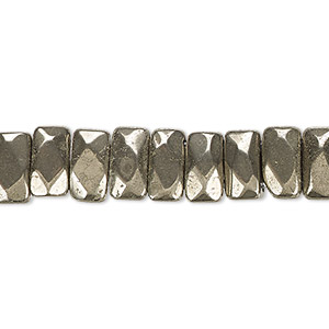 bead, pyrite (stabilized), 9x5mm-10x6mm double-drilled faceted rectangle with 0.5-1.5mm holes, b grade, mohs hardness 6. sold per 8-inch strand, approximately 35 beads.