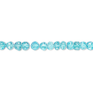 bead, quartz crystal (coated), aqua, 4x3mm-5x4mm hand-cut faceted rondelle, c grade, mohs hardness 7. sold per 14-inch strand.