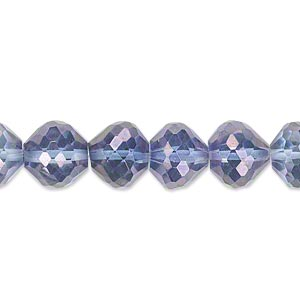 bead, quartz crystal (coated), blue ab, 10x8mm hand-cut faceted rondelle, b grade, mohs hardness 7. sold per pkg of 10.