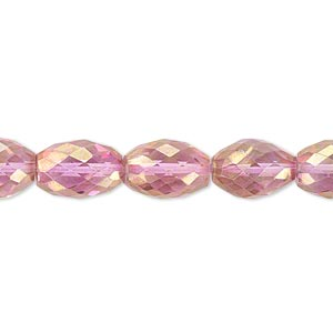 bead, quartz crystal (coated), pink ab, 11x8mm hand-cut faceted oval, b grade, mohs hardness 7. sold per pkg of 10.