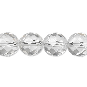 bead, quartz crystal (natural), 12mm faceted round, a- grade, mohs hardness 7. sold per 8-inch strand, approximately 15 beads.