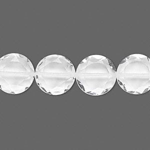 bead, quartz crystal (natural), 12mm hand-cut faceted flat round, b grade, mohs hardness 7. sold per pkg of 10.
