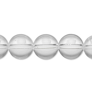 bead, quartz crystal (natural), 12mm round, a- grade, mohs hardness 7. sold per 8-inch strand, approximately 15 beads.