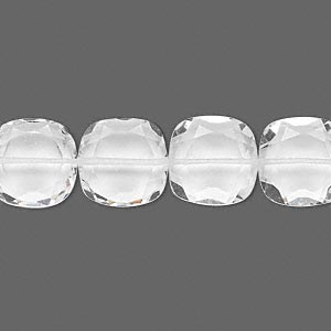 bead, quartz crystal (natural), 12x12mm hand-cut faceted puffed square, b grade, mohs hardness 7. sold per pkg of 10.
