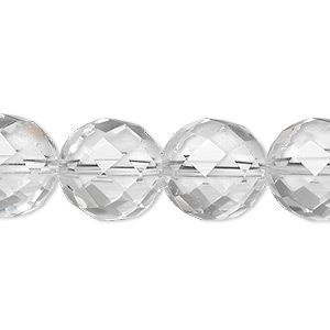 bead, quartz crystal (natural), 14mm faceted round, a- grade, mohs hardness 7. sold per 8-inch strand, approximately 15 beads.