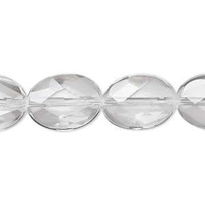 bead, quartz crystal (natural), 16x12mm faceted oval, a- grade, mohs hardness 7. sold per 8-inch strand, approximately 10 beads.