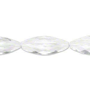 bead, quartz crystal (natural), 23x9mm hand-cut faceted triangular oval, b grade, mohs hardness 7. sold per pkg of 4.