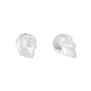 bead, quartz crystal (natural), 25x21mm skull, b grade, mohs hardness 7. sold per pkg of 2.