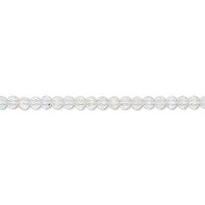 bead, quartz crystal (natural), 2mm hand-cut faceted rondelle, b grade, mohs hardness 7. sold per 13-inch strand.