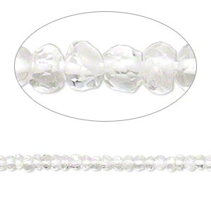 bead, quartz crystal (natural), 3x1mm-4x3mm hand-cut faceted rondelle, b- grade, mohs hardness 7. sold per 13-inch strand.