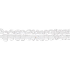 bead, quartz crystal (natural), 5x2mm-7x4mm hand-cut rondelle, b grade, mohs hardness 7. sold per 16-inch strand.