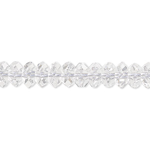 bead, quartz crystal (natural), 8x5mm hand-cut faceted rondelle, b grade, mohs hardness 7. sold per 16-inch strand.