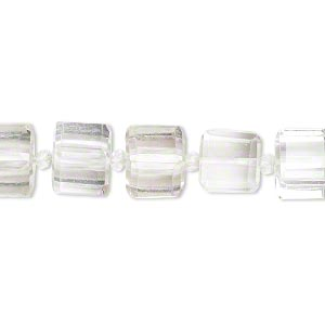 bead, quartz crystal (natural), 8x8mm faceted cube, b grade, mohs hardness 7. sold per pkg of 5.