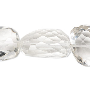 bead, quartz crystal (natural), large to extra-large hand-cut faceted nugget, mohs hardness 7. sold per 7-inch strand.