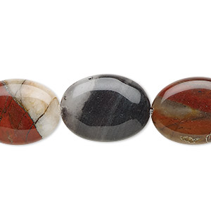 bead, rainbow brecciated jasper (natural), 20x15mm flat oval, b grade, mohs hardness 6-1/2 to 7. sold per 16-inch strand.
