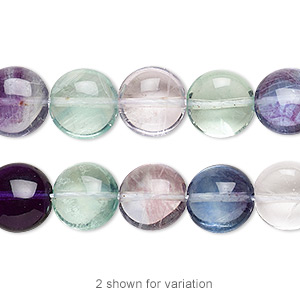 bead, rainbow fluorite (natural), 10mm puffed flat round, a grade, mohs hardness 4. sold per 16-inch strand.