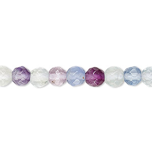 bead, rainbow fluorite (natural), 6mm faceted round, a grade, mohs hardness 4. sold per 16-inch strand.
