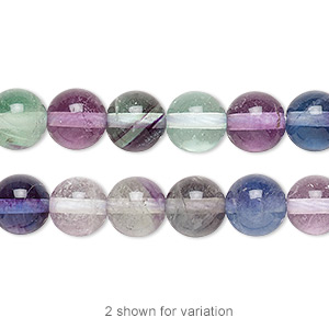 bead, rainbow fluorite (natural), 8mm round, a grade, mohs hardness 4. sold per 16-inch strand.