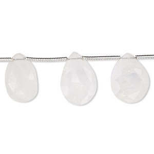 bead, rainbow moonstone (natural), 14x10mm-16x10mm graduated hand-cut faceted puffed teardrop with 0.4mm-1.4mm hole, b grade, mohs hardness 6 to 6-1/2. sold per pkg of 7 beads.