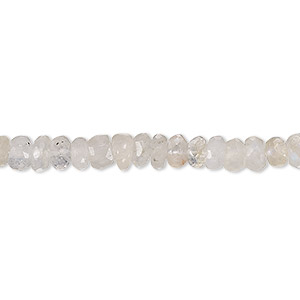 bead, rainbow moonstone (natural), 4x2mm-6x4mm hand-cut faceted rondelle, c grade, mohs hardness 6 to 6-1/2. sold per 6-inch strand.