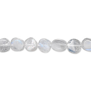 bead, rainbow moonstone (natural), 7mm hand-cut flat round, c grade, mohs hardness 6 to 6-1/2. sold per 16-inch strand.