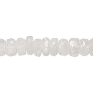 bead, rainbow moonstone (natural), 8x3mm-10x6mm hand-cut faceted rondelle, b- grade, mohs hardness 6 to 6-1/2. sold per 14-inch strand.
