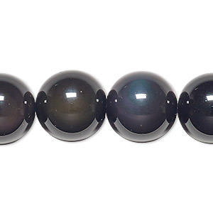 bead, rainbow obsidian (natural), 16mm round, b grade, mohs hardness 5 to 5-1/2. sold per 8-inch strand, approximately 10 beads.