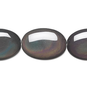 bead, rainbow obsidian (natural), 25x18mm puffed oval, a grade, mohs hardness 5 to 5-1/2. sold per 8-inch strand, approximately 5 beads.