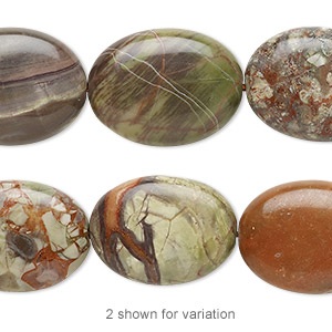 bead, rainbow rhyolite (natural), 20x15mm flat oval, b grade, mohs hardness 6-1/2 to 7. sold per 8-inch strand.