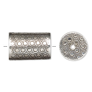 bead, rajasthani sterling silver, 20x13mm round tube. sold individually.