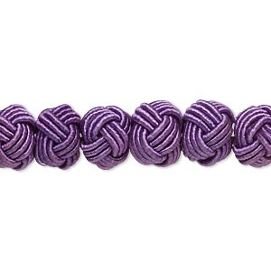 bead, rayon and acrylic pearl, purple, 8-9mm knotted round. sold per pkg of 20.