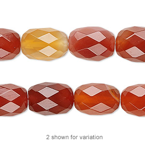 bead, red agate (dyed / heated), 14x10mm faceted barrel, b grade, mohs hardness 6-1/2 to 7. sold per 16-inch strand.