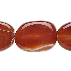 bead, red agate (dyed / heated), 30x22mm freeform with 0.5-1.5mm hole, b grade, mohs hardness 6-1/2 to 7. sold per 16-inch strand.