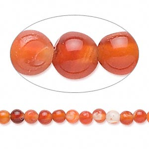 bead, red agate (dyed / heated), 4mm round, d grade, mohs hardness 6-1/2 to 7. sold per 15-inch strand.