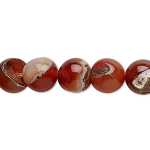 bead, red agate (dyed / heated), 9-10mm uneven round, d grade, mohs hardness 6-1/2 to 7. sold per 13-inch strand.