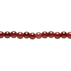 bead, red agate (dyed / heated), dark, 4-5mm round, c+ grade, mohs hardness 6-1/2 to 7. sold per 15-inch strand.