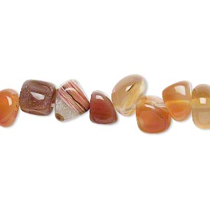bead, red agate (dyed / heated), small to large pebble, mohs hardness 6-1/2 to 7. sold per 15-inch strand.