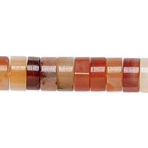 bead, red agate (dyed / heated), white and red, 10x5mm heishi with 2-2.5mm hole, b grade, mohs hardness 6-1/2 to 7. sold per pkg of 10.
