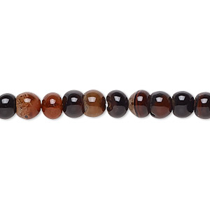bead, red and black agate (dyed / heated), 4-6mm uneven round, c- grade, mohs hardness 6-1/2 to 7. sold per 15-inch strand.