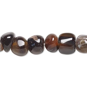 bead, red and black agate (dyed / heated), large pebble and chip, mohs hardness 6-1/2 to 7. sold per 15-inch strand.